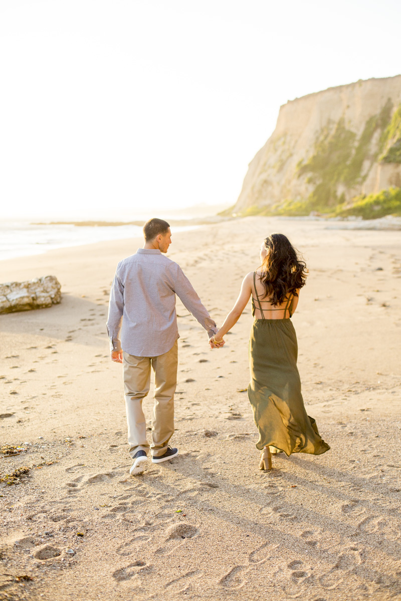 point reyes engagement shoot, olive dress engagement session, beach engagement photos, big sur engagement photos